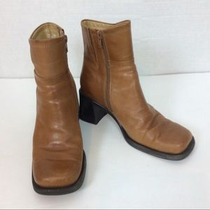 Bass Leather Pacific II Brown Booties Hipster